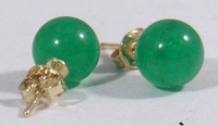 Wholesale Cheap Beautiful 10MM Green Natural Jade Stud Earrings Genuine 18K GP Earring Ladies Fashion Jewelry /  Free Shipping
