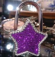 Bling Glitter Rhinestones Five-pointed star Foldable Women Hanbdag hangers Purse Hook Handbag Hanger Women handbag holder