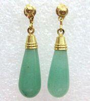 Wholesale Cheap Natural Green Jade Drop 18K GP Dangle water-drop gold color Earrings /  Free Shipping