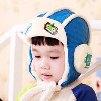 Winter robot letters children earmuffs Lei Feng HAT baby plus velvet thick warm hat Han Banchao