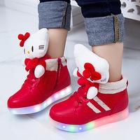 2014 winter models plus velvet shoes Muppet girl child LED lights rechargeable shoes  girl winter led boot   kid fashion shoes