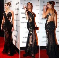 Mermaid vestido de festa com tule longo black lace Sexy One-shoulder Long Sleeves party Prom evening Dresses 2015 New arrival