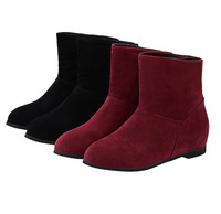 Fshaion Hot Sale Women Winter Snow Boots,Slip-on Round Toe Ankle Boots Flat With Flock Casual Simple Shoes Drop Shipping 1580