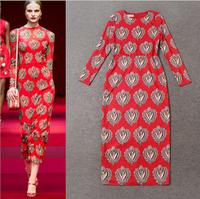 Brand Style Runway Autumn Dress 2014 Elegant Women's Plus Size Desigual Gemstones Print Mid Calf Office Straight Dress Work Wear