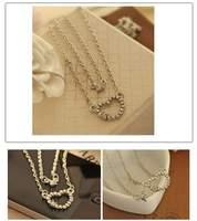 Korean jewelry new full imitation diamond double love hearts. Short charm necklace