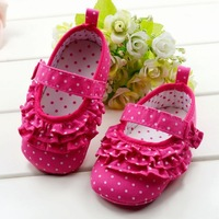 Fashion red dot baby girl shoes, comfortable soft sole infant girl dress shoes for baby first walkers, 6 pairs/lot!
