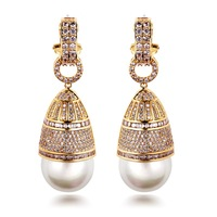 Vintage earring luxury fashion jewelry 18K gold platinum aaa zircon pearl earrings Micro Pave setting for women brincos ouro