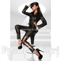 Freeship B061 Brand Elastic Bronzing PU Faux Leather Sexy Women Leggings 2014 New Leggings Famale Club Legging Pencil Pants