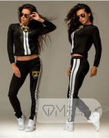 Personality car brand woman sweatshirts set 2014 Newest pullovers and trousers casual female clothing patchwork sports pullovers