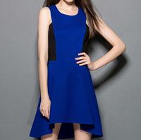 European style women autumn thick cotton sleeveless patchwork slim designer irregularity party dresses blue color M4125