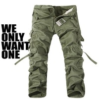New Arrival 2014 Outdoors High Quality Mens Cargo Army Pants Multi-pocket Zipper 100% Cotton Khaki Training Trousers Male 018