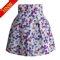 2015 New Women skirts Fashion Brand High waist Purple flower Pearl zipper Elastic Ball Gown Plus Short Skirt High quality