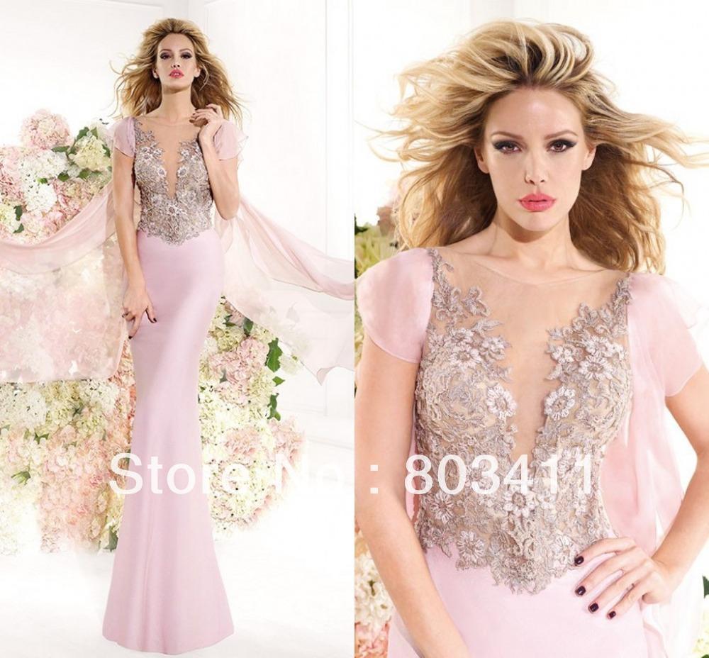 21 recém-chegados!!! Trompete deslumbrante vestido com laço bordado mangas chiffon cetim verão vestidos de noite dresses15(China (Mainland))