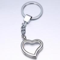 Free shipping 10 pcs/lot Alloy Heart Glaze Key Chains Magnetic Origami Owl Memory Living Floating Charm Locket