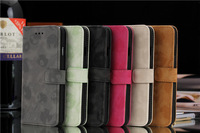 Retro Flannelette Leather case for iPhone 6, Folio Photo frame Card slots Wallet Stand Leather cover case for iphone 6