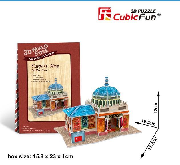 Free shipping Original CubicFun 3D puzzle Mini building model Turkey Hadosan Carpet Shop children's toys birthday gift(China (Mainland))