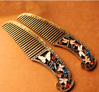Free Shipping!2014 New Fashion Vintage butterfly/Dragonfly Pattern Hair Brush Wholesale Hair Comb Styling Tools