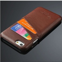 Litchi Structure Genuine Leather Cover For Iphone 6 4.7'' Back Case Creative Card Insert Bag Noble Design Phone Shell