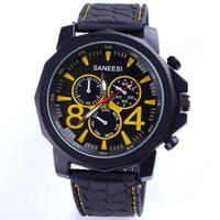 Newest trendy quartz analog SANEESI silicone watch casual men fashion gift three time zone decorated 5 colors wholesale dropship