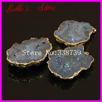 6PCS Gold Plated Druzy Agate Stone Pendant Freedom Shape Nature Crystal Drusy Rainbow Titanium Druzy Geode Gems Quartz Pendant