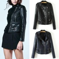 New fashion black jacket new 2014 bomber motorcycle Leather jackets women 2 color brand jacket jaqueta couro