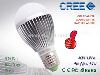 Popular CREE Dimmable Globe Bulb 85-265V 110V 220V  E27 E14 B22 GU10 GU5.3 9W 12W 15W LED ball Bulb Lamp led spotlight
