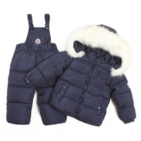 Hot Sell 2015 winter coat+jumpsuit baby clothing set Children boys girls warm down thicken jacket suit set baby coat
