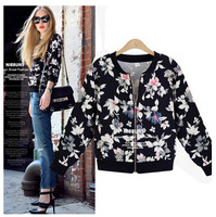 Free shipping in the autumn of 2014 European female fashion short cardigan coat baseball jacket unlined upper garment