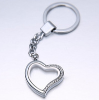 Free shipping 10 pcs/lot Alloy Heart Half Rhinestone Key Chains Magnetic Origami Owl Memory Living Floating Charm Locket