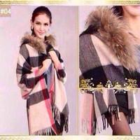 New pure cashmere large lattice scarf shawl tassels British classic lady thickened Lapel shawl