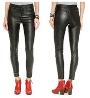 XS-XXL 2014 New Pants  Women Fashion High Waist Slim Bottom 5 Pocket Skinny Pants PU Single Button Zipper Front Fly As Trousers
