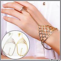 Fashion Punk Big brand Jewelry sets Gold Silver Chain bracelets rings set Hollow Carved bracelets women Fashion Jewelry set