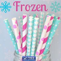 250pcs Mixed 5 Designs Frozen Paper Straws, Hot Pink, Light Blue, Aqua Striped, Swiss Dot, Heart, Diamond Party Decorations