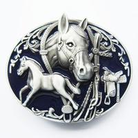 Buckle series of saddleries 3D details Horses Rodeo Blue Western Belt Buckle