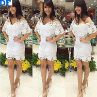 Vestido De Festa New Women Lace Dress Slash Neck Slim Over Hip Lace Floral Sexy Bandage Dress Lady Casual Party Wedding Dresses