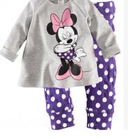 Hot Sale Girl's suits baby underwear Long sleeve girls pajamas 2 piece children cartoon sleepwear clothing Minnie set
