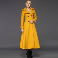 2014 New fashion women's wool long coat turn-down collar double-breasted jacket elegant female winter thick coat plus size