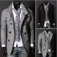 Fashion Casual Men's Slim Winter Warm Trench Coat Gentleman Jacket Woolen Double Button Outwear