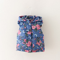 Baby Girls Fashion Design Hodded Floral Print Outerwear For New Autumn 2014 Casual Button Pocket Vest Children Clothing 5pcs/lot