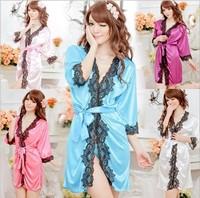 Ladies Sexy Underwear Lingerue Lace Decoration Pajamas Robe 3/4 Sleeveless Chiffon Bathrobe Sleepwear Nightdress Sets 22004