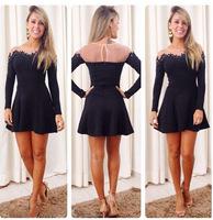 2014 free shipping black lace long sleeve mini dress women vestido 1007
