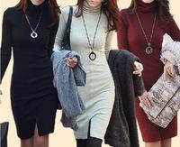 Free shipping 2014 Korean Women dresses New commuter Slim long-sleeved high-necked warm winter models bottoming Dress