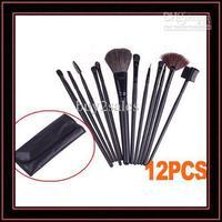 002Shipping 12PCS Wool Makeup Brush Sets Soft Cosmetic Brush Sets Black Fashion PU Leather Sleeve RU