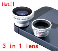 Magnetic 3 in 1 mobile phone lens 0.67x Wide + Macro +180 Fish Eye fisheye len for Apple iPhone 4 5 6 plus Samsung,10set/lot