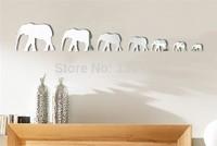7 pcs Elephant Modern Acrylic Plastic Mirror Wall Home Decal Decor Vinyl Art Sticker DIY spliced mirrors