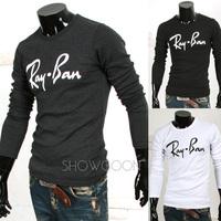 2014 New Autumn Men's Shirts Cool Male Clothing Slim Basic T-shirt Letter Print O-neck Long-sleeve T-shirt