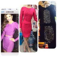 2014 new women black red purple two piece set long sleeve beading bodycon sexy evening party Bandage Dress
