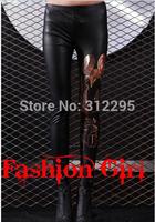 Freeship B039 Brand Elastic Bronzing PU Faux Leather Sexy Women Leggings 2014 New Leggings Famale Club Legging Pencil Pants