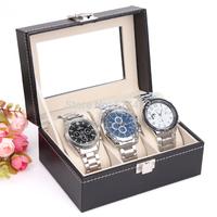 Jewelry display casket  Wristwatch organizer  Bracelet case gift box  New and Fashion 3 Grid Black Leather