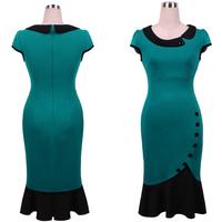 New arrival elegant designer autumn short sleeve doll collar ruffled slim pencil dresses green color plus size CD1374